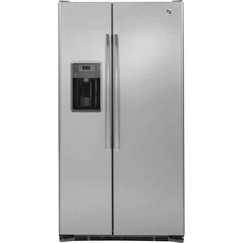 GE Appliances - GE® 21.9 Cu. Ft. Counter-Depth Side-By-Side Refrigerator-Small dents on doors means BIG savings!