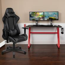 See Details - Red Gaming Desk and Gray Reclining Gaming Chair Set with Cup Holder and Headphone Hook