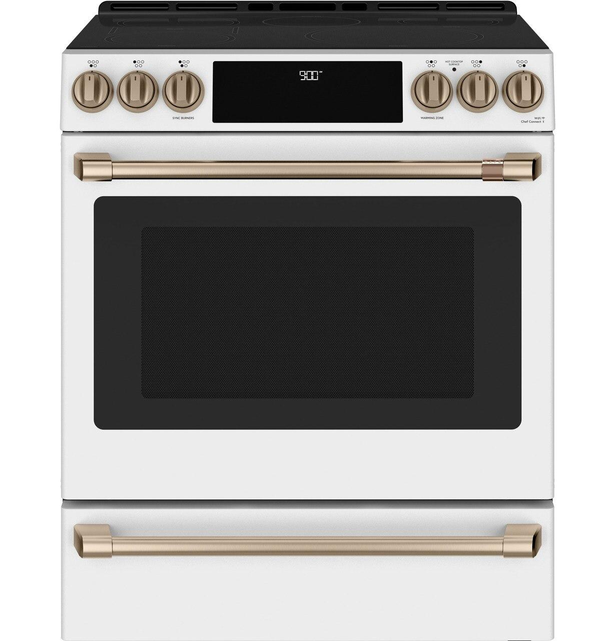 "Cafe Appliances30"" Smart Slide-In, Front-Control, Induction And Convection Range With Warming Drawer"
