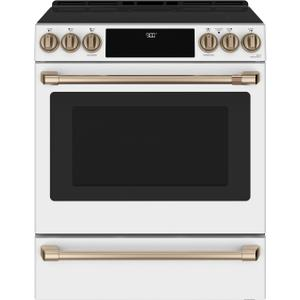 """Cafe AppliancesCaf(eback) 30"""" Smart Slide-In, Front-Control, Induction and Convection Range with Warming Drawer"""