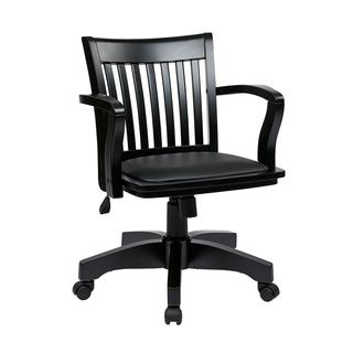 See Details - Deluxe Wood Banker's Chair With Vinyl Padded Seat In Black Finish With Black Vinyl