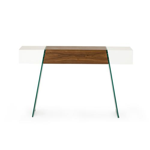 Modrest Sven Contemporary White & Walnut Floating Console Table