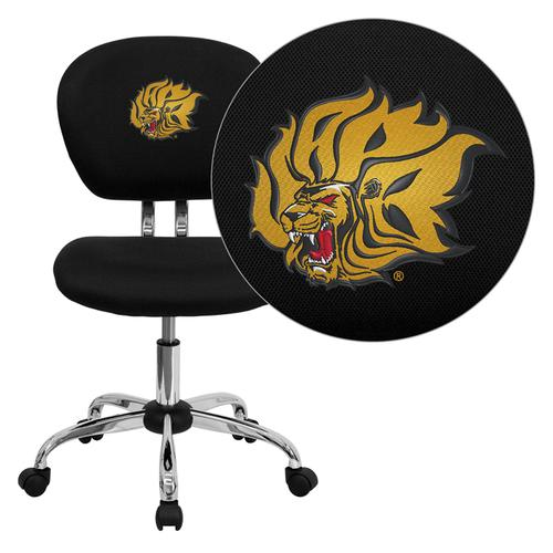Arkansas Pine Bluff Golden Lions Embroidered Black Mesh Task Chair with Chrome Base