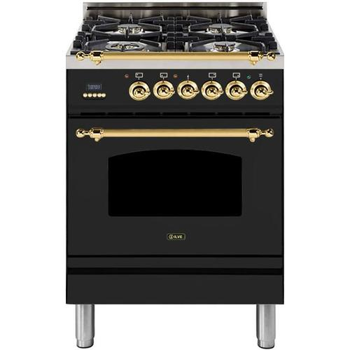 Nostalgie 24 Inch Dual Fuel Liquid Propane Freestanding Range in Matte Graphite with Brass Trim