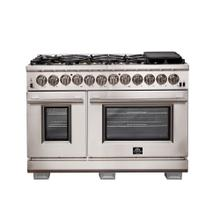 "48 "" Capriasca Gas Range with 240 Volt Electric Oven Dual Fuel FORNO ALTA QUALITA Pro-Style 8 DEFENDI Italian Burner 160,000 BTU All 304 Stainless Steel FFSGS6187-48"