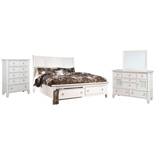 California King Sleigh Bed With 2 Storage Drawers With Mirrored Dresser and Chest