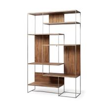 "Morris III 47.2"" x 74.8"" Brown Wood and Silver Metal Frame 6 Shelf Shelving Unit"