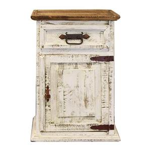 """L.M.T. Rustic and Western Imports - Left Nightstand : 26"""" x 32"""" x 20"""" White Wash Collection"""
