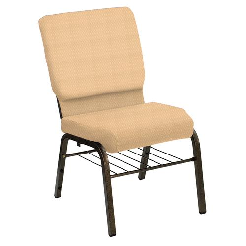 Flash Furniture - HERCULES Series 18.5''W Church Chair in Bedford Golden Fabric with Book Rack - Gold Vein Frame