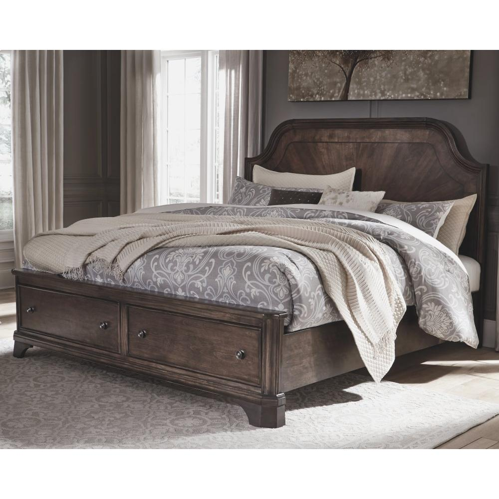Adinton King Panel Bed With 2 Storage Drawers