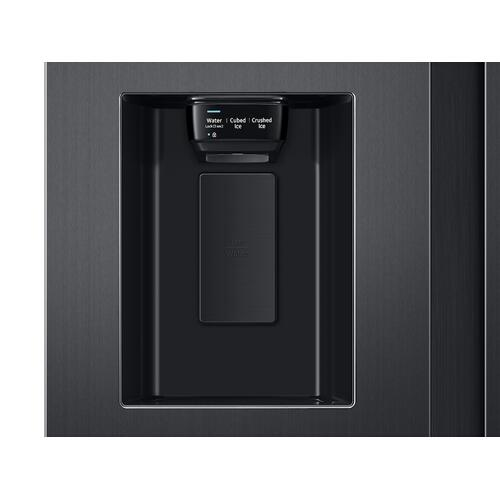 Samsung - 22 cu. ft. Counter Depth Side-by-Side Refrigerator with Touch Screen Family Hub™ in Black Stainless Steel