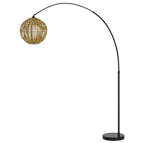 100W Lakeside metal adjustable arc floor lamp with bamboo shade and on-off foot switch