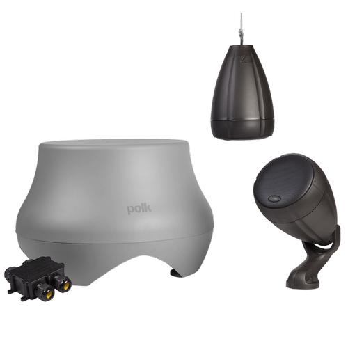 Atrium Weatherproof Outdoor Loudspeaker and Subwoofer System in Gray/Chestnut
