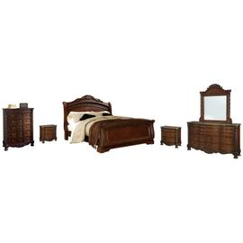 Queen Sleigh Bed With Mirrored Dresser, Chest and 2 Nightstands