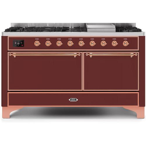 Ilve - Majestic II 60 Inch Dual Fuel Natural Gas Freestanding Range in Burgundy with Copper Trim