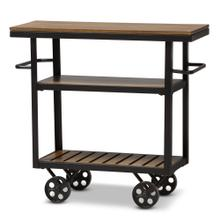 See Details - Baxton Studio Kennedy Rustic Industrial Style Antique Black Textured Finished Metal Distressed Wood Mobile Serving Cart