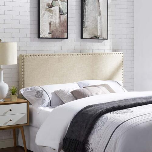 Phoebe King Upholstered Fabric Headboard in Beige