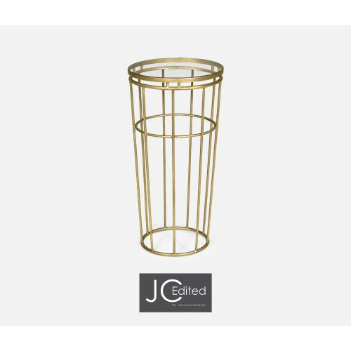 Gilded Iron Round End Table with A Clear Glass Top