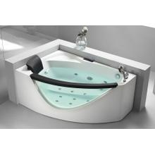 View Product - 5' Right Drain Rounded Clear Modern Corner Whirlpool Bath Tub with Fixtures