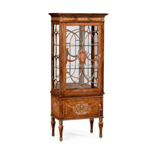 Burl & mother of pearl display cabinet left opening
