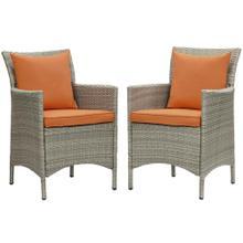 Conduit Outdoor Patio Wicker Rattan Dining Armchair Set of 2 in Light Gray Orange