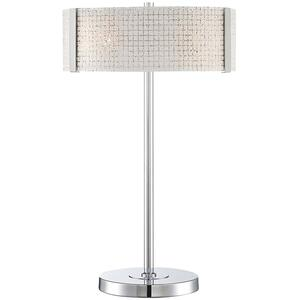 Table Lamp, Chrome/frost Glass Panels, E27 Type G 60wx2