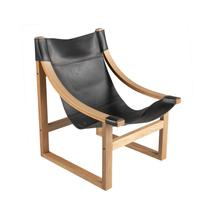 Lima Sling Chair, Black Leather with Natural Frame