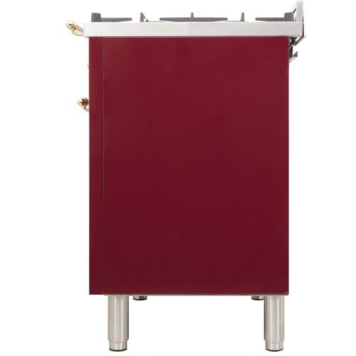 Nostalgie 48 Inch Dual Fuel Liquid Propane Freestanding Range in Burgundy with Brass Trim