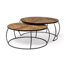"Clapp II Set of 2 (41"" & 38"") Diameter Brown Wood Top Black Metal Base Nesting Coffee Tables"