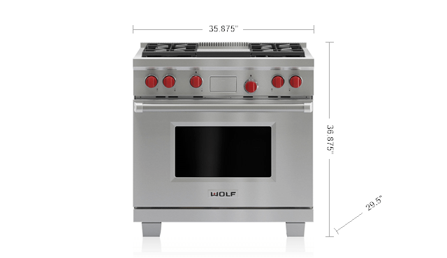 """WolfLegacy Model - 36"""" Dual Fuel Range - 4 Burners And Infrared Griddle"""