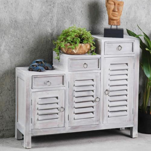 Product Image - Shutter Cabinet, Three Tiered - Distressed Light Gray