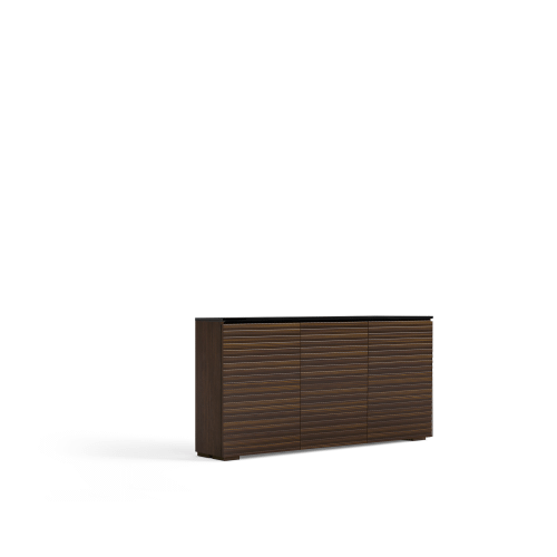 Salamander Designs - The sleek, streamlined design features a horizontal pattern on opium brown wood with a solid surface black top and wood block feet.