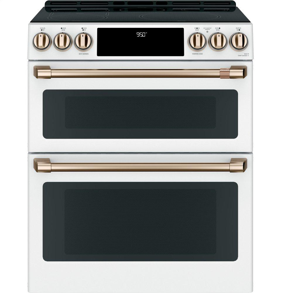 """Cafe Appliances30"""" Smart Slide-In, Front-Control, Induction And Convection Double-Oven Range"""