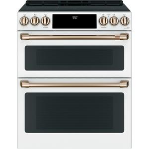 "Cafe30"" Smart Slide-In, Front-Control, Induction and Convection Double-Oven Range"