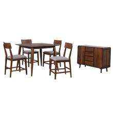 DLU-MC4848-B45-SR6P  6 Piece Square Counter Height Pub Table Dining Set  Padded Performace Fabric Seats  Server