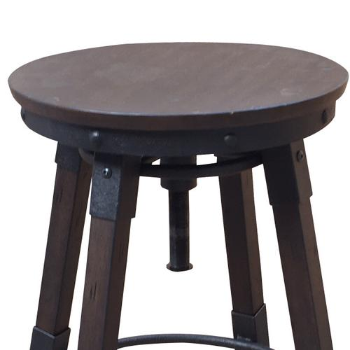 Vintage Industrial Style Swivel Backless Barstool in Distressed Chocolate