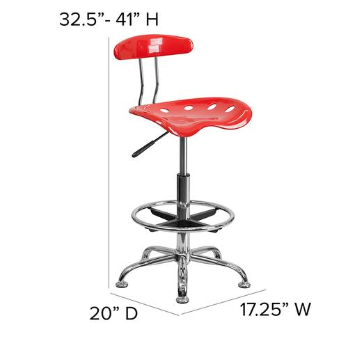 Flash Furniture - Vibrant Cherry Tomato and Chrome Drafting Stool with Tractor Seat