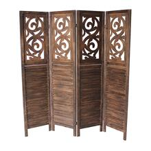 7042 DARK BROWN Rustic Shutter 4-Panel Room Divider