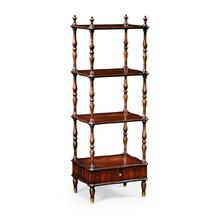 Mahogany Four-Tier tag re with Serpentine Shelf (Narrow)