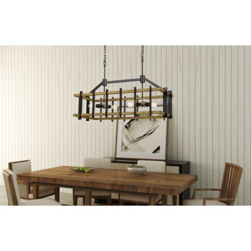 Bruck 60W X 6 Metal/Pine Wood Island Chandelier (Edison Bulbs Not included)
