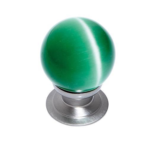 Satin Nickel 30 mm Green Cat's Eye Knob