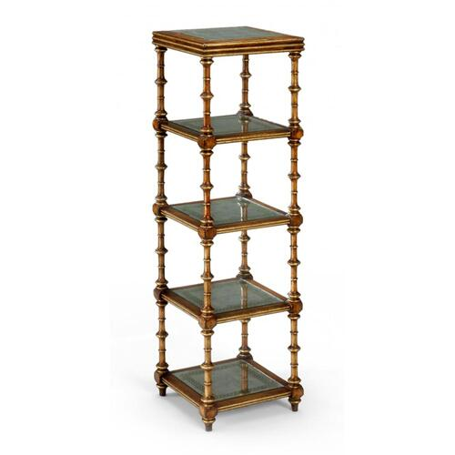 Walnut & eglomise five-tier etag re