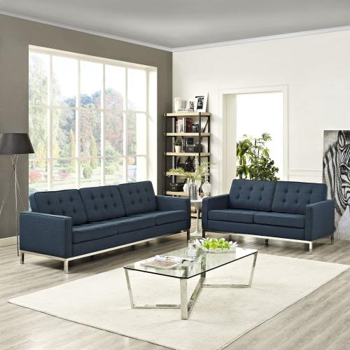 Loft 2 Piece Upholstered Fabric Sofa and Loveseat Set in Azure