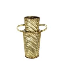 Dimpled Gold Vase W/ Handles 11.75""