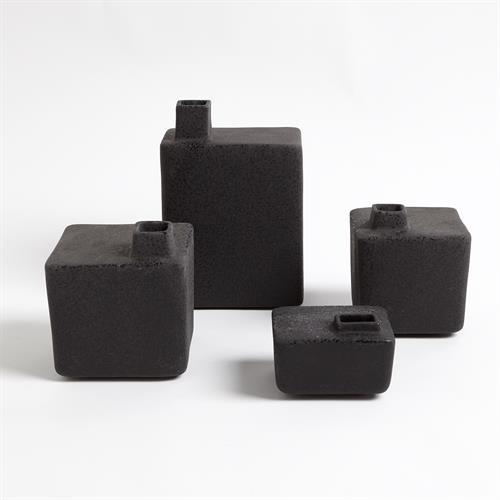 Square Chimney Vase-Black-Sm
