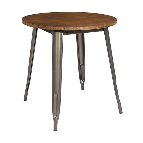 """30"""" Matte Gunmetal Grey Round Dining Table With Ash Wood Top"""