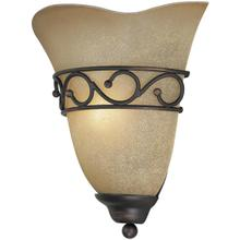 Wall Sconce, BRONZE/L.AMBER Glass Shade, E12 Type B 60w