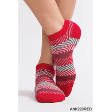 Zig Zag Ankle Sock - Red (6 pc. ppk.)
