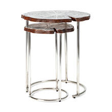 Kayan Wood and Aluminum Accent Tables - Set of 2