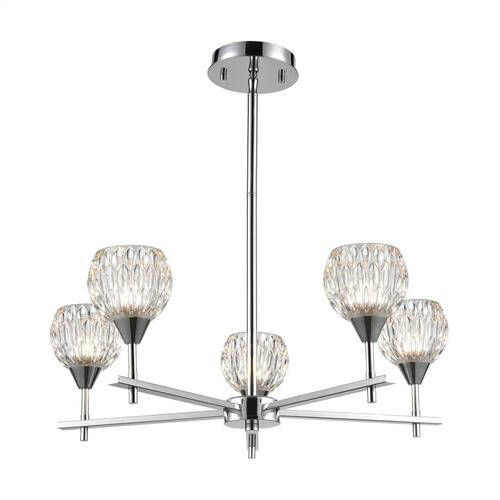 Kersey 5-Light Chandelier in Polished Chrome with Clear Crystal